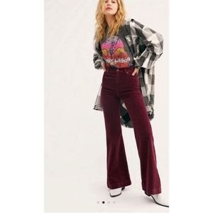 Free People Red Burgundy Flare Corduroy Size 31